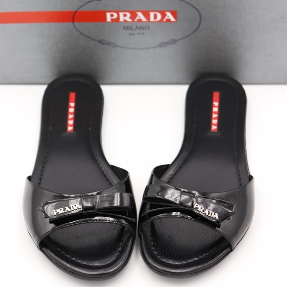19a4560bb Prada Black Patent Leather Bow Logo Slides Sandals